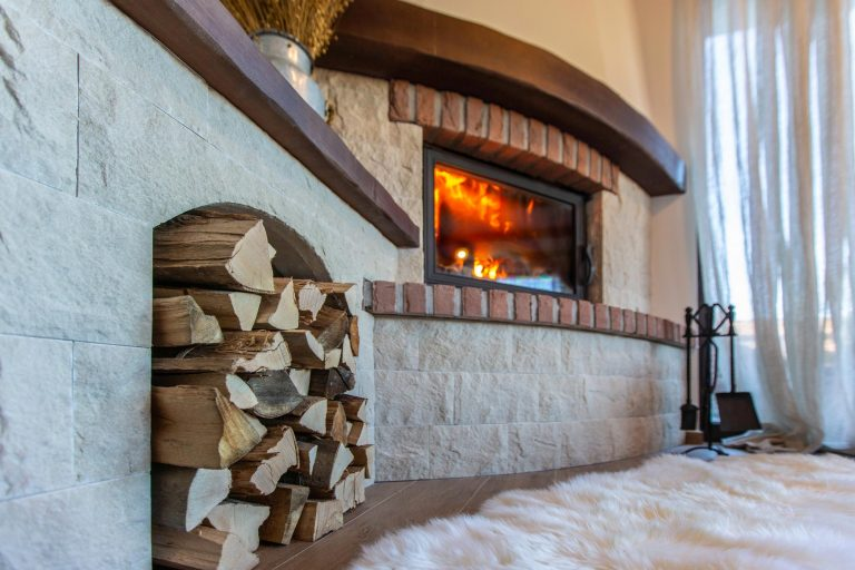 Fireplace in luxurious Villa Fužine